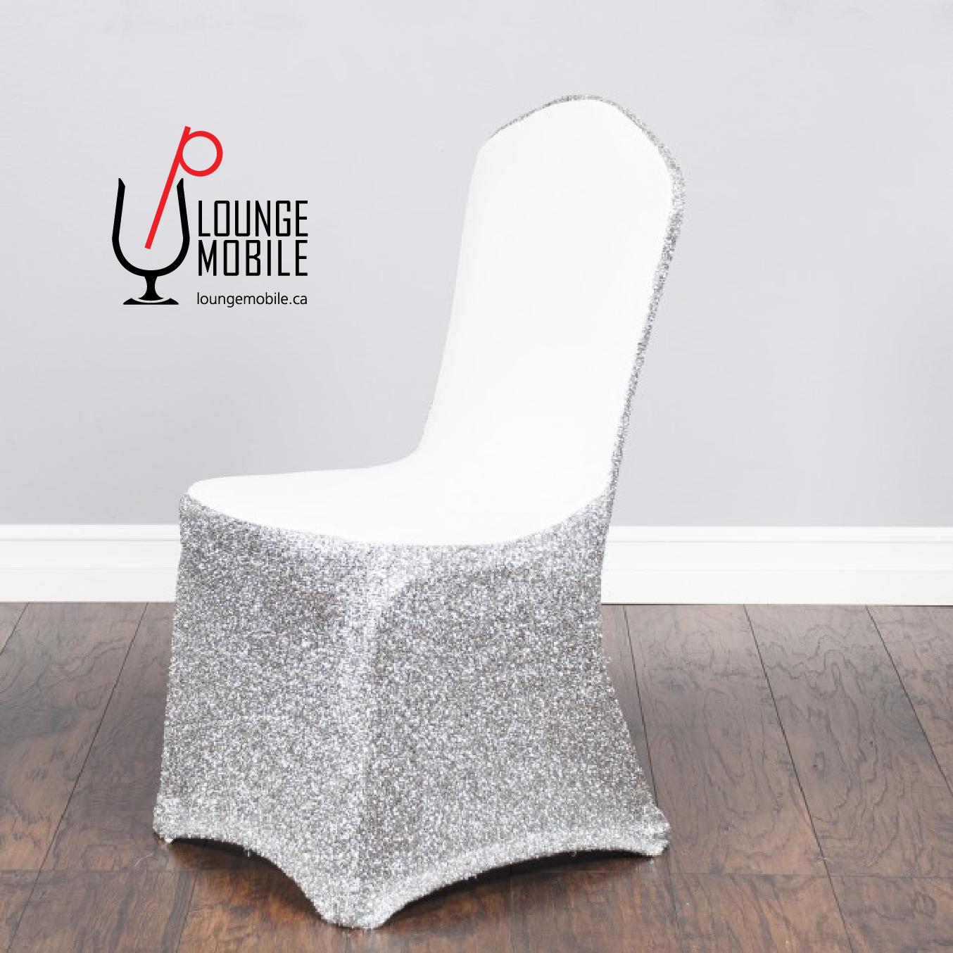 Housse de chaise lycra blanc avec brillants argent for Housse de chaise dossier arrondi