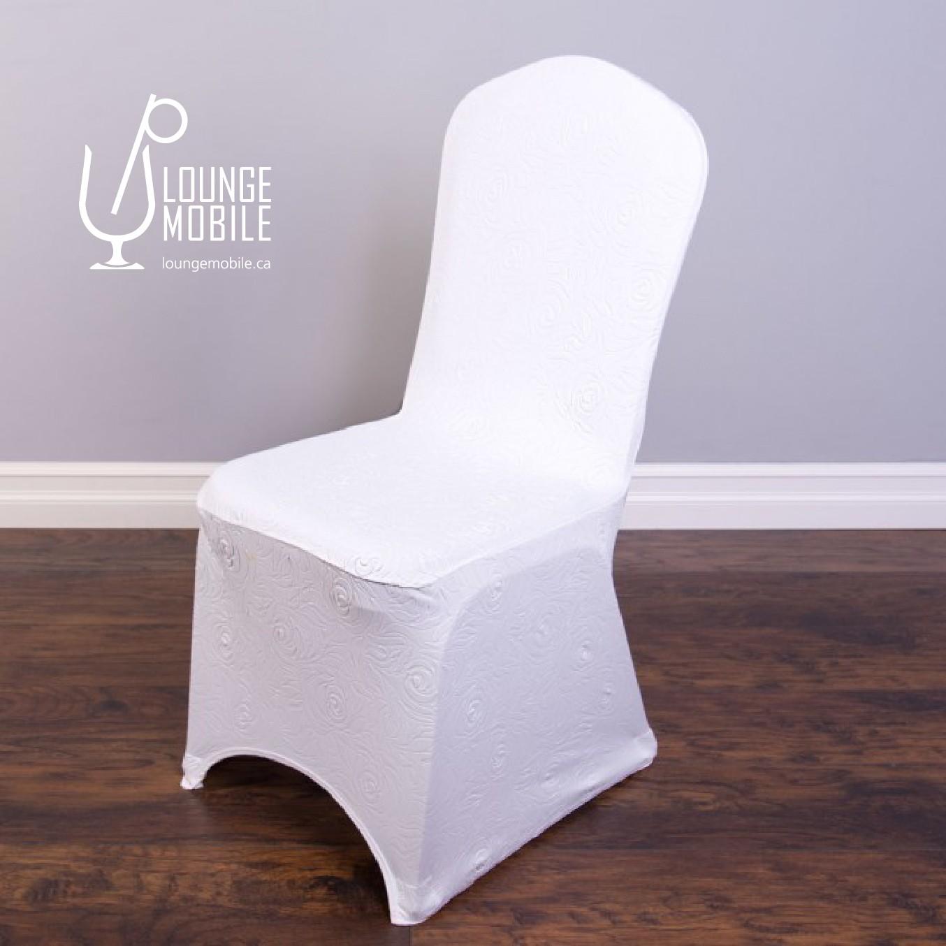 Housse de chaise lycra rosettes blanche d coration for Housse lycra