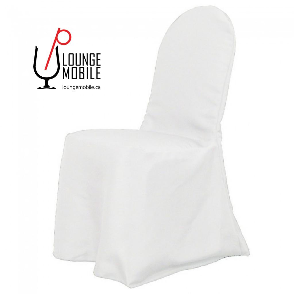 Housse de chaise polyester blanc rond d coration les for Housse de chaise dossier rond